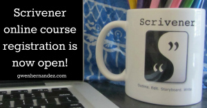 Image of Scrivener mug and course announcement